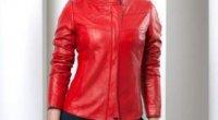 Червона шкіряна куртка – весняна і зимова
