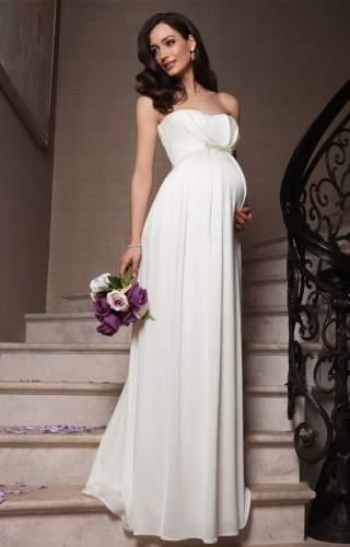 9c3b9fef73f9fa Відмінним рішенням стануть довгі сукні для вагітних з класичним А-силуетом.  Їх характерна особливість – звужений верх, який підкреслить красу вашого ...
